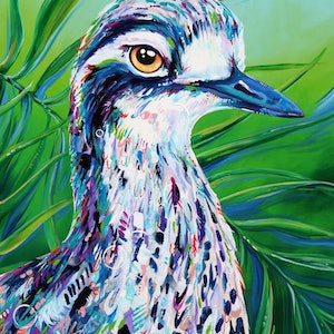 (CreativeWork) Cyril - Portrait of a Curlew by Eve Izzett. arcylic-painting. Shop online at Bluethumb.