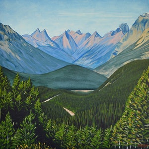 (CreativeWork) Canadian Rockies #1 by Mady Lewis. arcylic-painting. Shop online at Bluethumb.