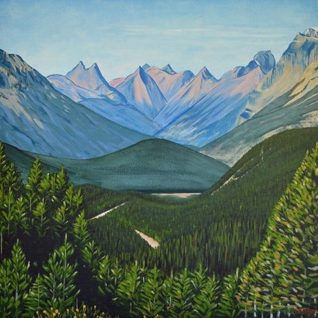 (CreativeWork) Canadian Rockies #1 by Mady Lewis. Acrylic Paint. Shop online at Bluethumb.