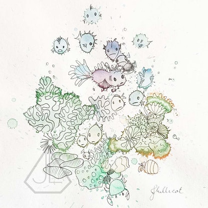 (CreativeWork) Coral Reef Splash! by Jo Lillicot. Mixed Media. Shop online at Bluethumb.