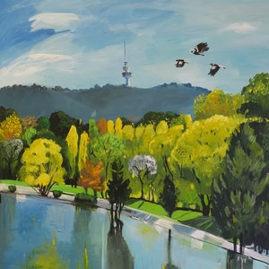 (CreativeWork) Lakeside Autumn by Susan Trudinger. arcylic-painting. Shop online at Bluethumb.