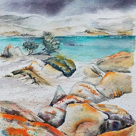 (CreativeWork) Windswept Lichen Granite by Vicki Reid. Watercolour Paint. Shop online at Bluethumb.