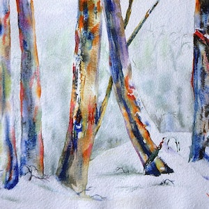 (CreativeWork) Colours of the Snow Gums by Vicki Reid. watercolour. Shop online at Bluethumb.