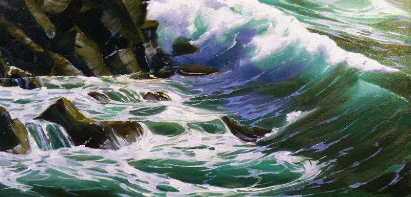 (CreativeWork) Green Wave 11 by Colin Madgwick. oil-painting. Shop online at Bluethumb.
