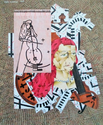 (CreativeWork) renae  with cello, 2014 by Adam Kanofski. Mixed Media. Shop online at Bluethumb.