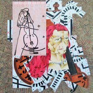 (CreativeWork) renae  with cello, 2014 by Adam Kanofski. mixed-media. Shop online at Bluethumb.