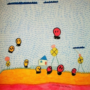 (CreativeWork) march of the lava monsters, 2012 by Adam Kanofski. mixed-media. Shop online at Bluethumb.