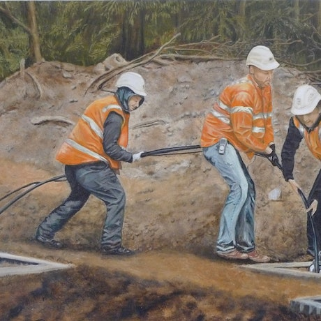 (CreativeWork) Teamwork Laying Cables by Sylvia Barnes. Oil Paint. Shop online at Bluethumb.