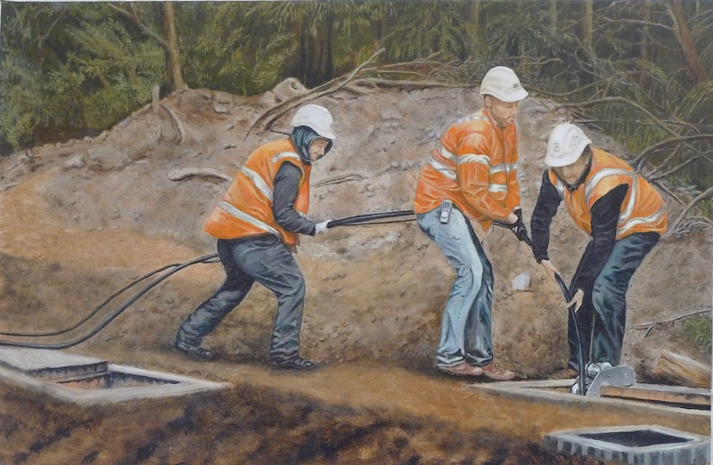 (CreativeWork) Teamwork Laying Cables by Sylvia Barnes. oil-painting. Shop online at Bluethumb.