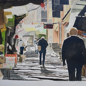 (CreativeWork) Mid Levels stair case, Hong Kong, 1990's. by John Barcham. watercolour. Shop online at Bluethumb.