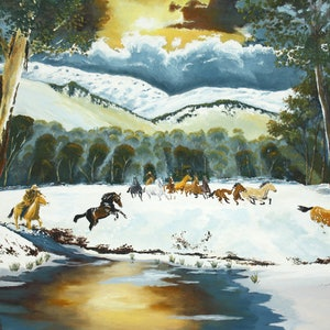 (CreativeWork) Alpine Brumbies by Ian Keenan. arcylic-painting. Shop online at Bluethumb.