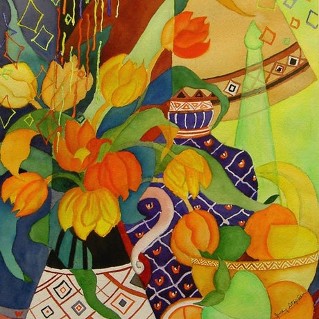 (CreativeWork) Oranges and Lemons  by Judy Stephen. Watercolour Paint. Shop online at Bluethumb.