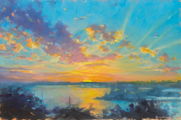 (CreativeWork) Sunset over Parramatta River (framed) by Michelle Angelique. Oil Paint. Shop online at Bluethumb.