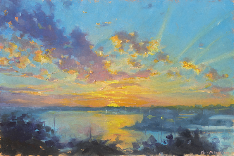 (CreativeWork) Sunset over Parramatta River (framed) by Michelle Angelique. oil-painting. Shop online at Bluethumb.