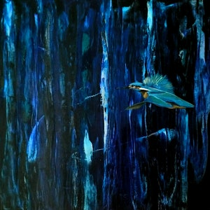 (CreativeWork) Superb Kingfisher - SALE FROM $450) by Amanda Skye. arcylic-painting. Shop online at Bluethumb.