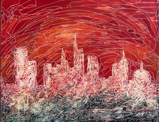 (CreativeWork) Abstract Cityscape CZ18035 by Carol Zsolt. Acrylic Paint. Shop online at Bluethumb.