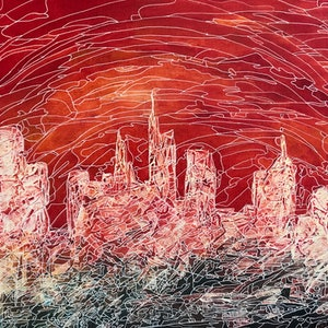 (CreativeWork) Abstract Cityscape CZ18035 by Carol Zsolt. acrylic-painting. Shop online at Bluethumb.