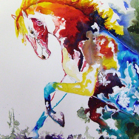 (CreativeWork) Lord of the Dance by Christine Lawrence. Watercolour Paint. Shop online at Bluethumb.
