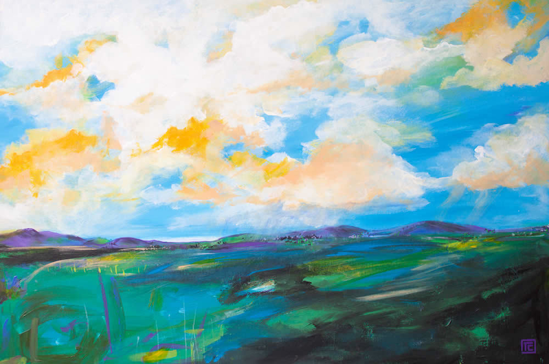 (CreativeWork) Summer Sky by Tania Chanter. arcylic-painting. Shop online at Bluethumb.