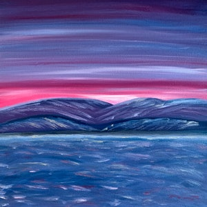 (CreativeWork) Island sunset -2028 by Fiona Cadd. oil-painting. Shop online at Bluethumb.