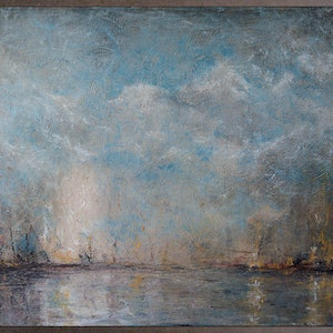 (CreativeWork) Boats in a Harbour by David Kaneen. oil-painting. Shop online at Bluethumb.