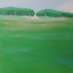 (CreativeWork) Green Trees by Andrea Edwards. arcylic-painting. Shop online at Bluethumb.