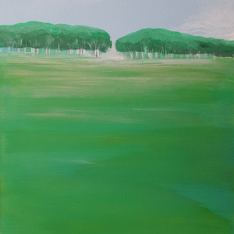 (CreativeWork) Green Trees by Andrea Edwards. Acrylic Paint. Shop online at Bluethumb.