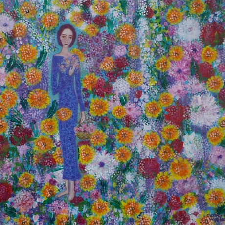 "(CreativeWork)  ""  Gathering  Flowers"" by Catherine Walker. Acrylic Paint. Shop online at Bluethumb."