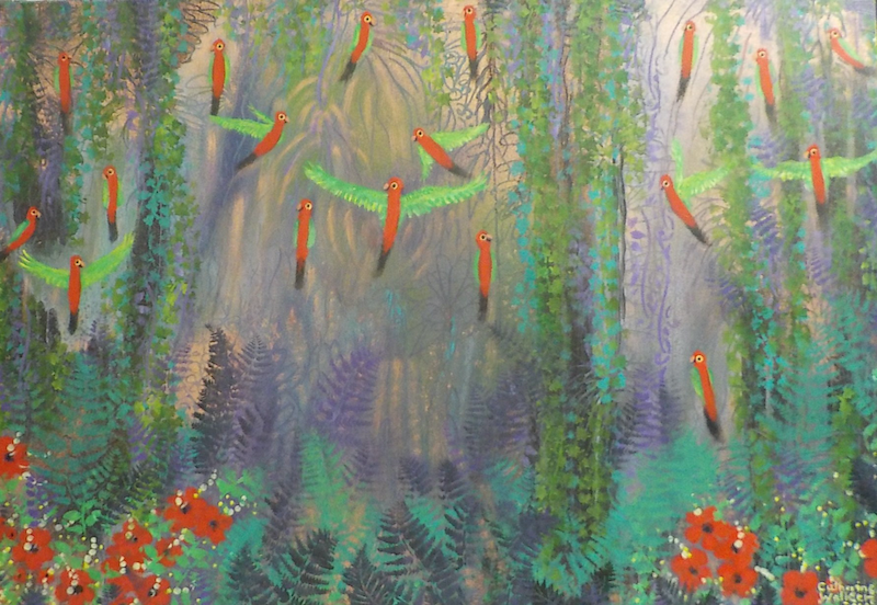 """(CreativeWork) """" Birds in a  rain  forest"""""""" by Catherine Walker. arcylic-painting. Shop online at Bluethumb."""