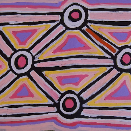 (CreativeWork) Yarla bush potato dreaming  by Henry Jakamarra Cook. Acrylic Paint. Shop online at Bluethumb.