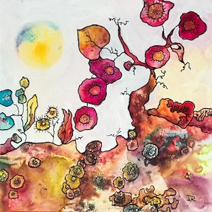 (CreativeWork) Whimsical Worlds #1 : Summer Days by Ingrid Russell. mixed-media. Shop online at Bluethumb.