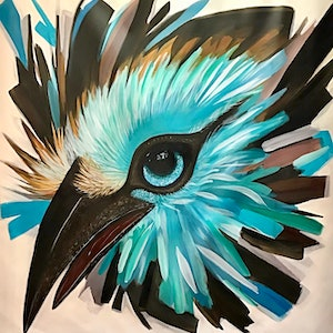 (CreativeWork) TEAL BIRD by Tracey Berthold. arcylic-painting. Shop online at Bluethumb.