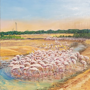 (CreativeWork) Flamingos of Dubai by Donna Gibb. oil-painting. Shop online at Bluethumb.