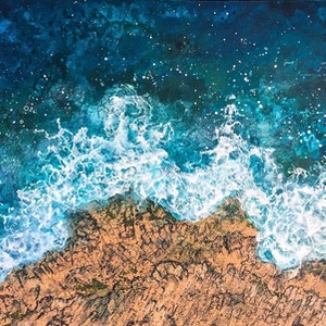 (CreativeWork) SEA HAVEN by Vanessa Mae. arcylic-painting. Shop online at Bluethumb.