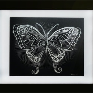 (CreativeWork) Butterfly Scraperboard Silver by Nevena Nikolic. other-media. Shop online at Bluethumb.