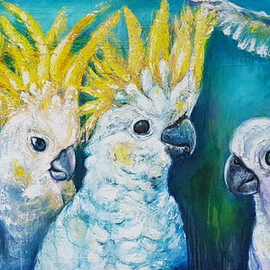 (CreativeWork) 'Cockatoo Conversations' by Rachel South. oil-painting. Shop online at Bluethumb.