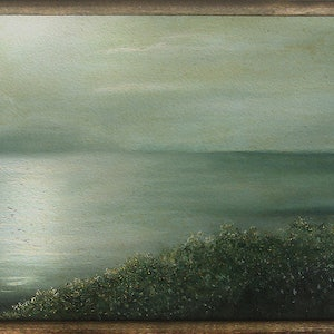 (CreativeWork) Moonlit Bay by David Kaneen. oil-painting. Shop online at Bluethumb.