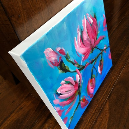 (CreativeWork) Magnolia II - Flowers Series by Jen Shewring. Acrylic Paint. Shop online at Bluethumb.