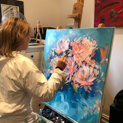 (CreativeWork) Eye Candy - Flowers Series by Jen Shewring. Acrylic. Shop online at Bluethumb.