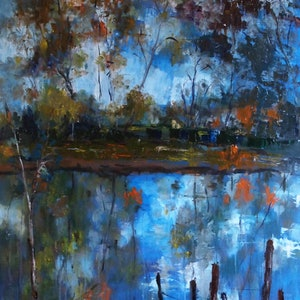 (CreativeWork) Goulburn Reflections (oil on stretched canvas) by Margaret Morgan (Watkins). oil-painting. Shop online at Bluethumb.
