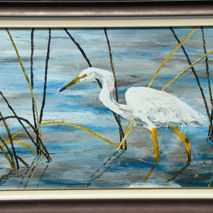 (CreativeWork) Heron by Andrea Henderson. oil-painting. Shop online at Bluethumb.