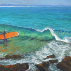 (CreativeWork) Surfer by Anne Strambi. oil-painting. Shop online at Bluethumb.