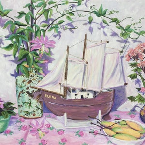 (CreativeWork) Model boat and banana passionfruit by Sue McCutcheon. oil-painting. Shop online at Bluethumb.