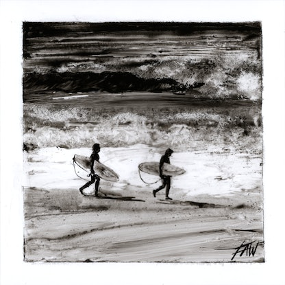 (CreativeWork) Lighthouse beach surfers by Fredrick Alexander Wales. Acrylic Paint. Shop online at Bluethumb.