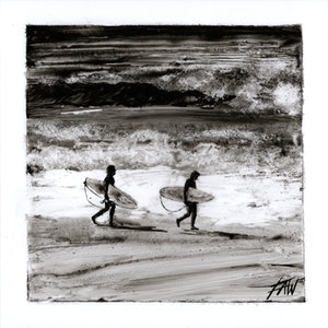 (CreativeWork) Lighthouse beach surfers by Fredrick Alexander Wales. arcylic-painting. Shop online at Bluethumb.