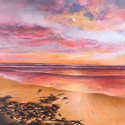 (CreativeWork) Mooloolaba Mornings by Kathryn Johnston. Acrylic Paint. Shop online at Bluethumb.