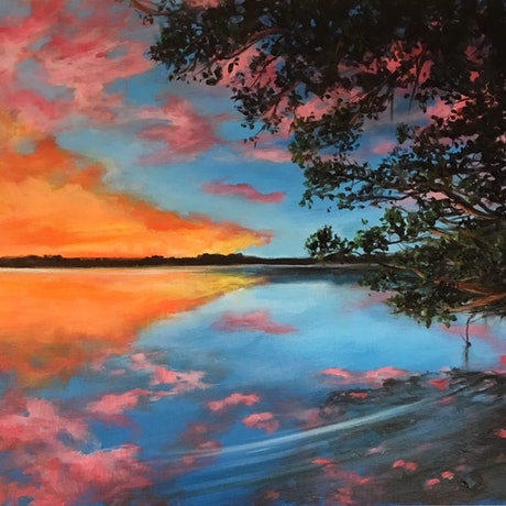 (CreativeWork) Maroochy River by Kathryn Johnston. Acrylic Paint. Shop online at Bluethumb.