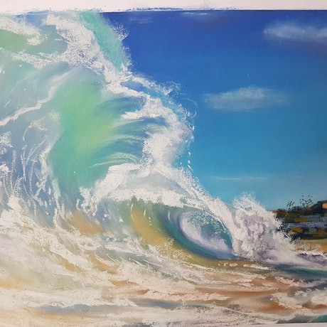 (CreativeWork) The Wave - Manly  (Pastel) by Irina Kozyrevitch. Drawings. Shop online at Bluethumb.