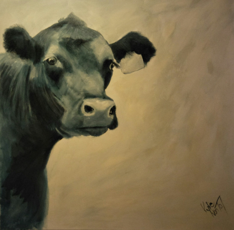 (CreativeWork) Angus cow  by Kylie van Tol. arcylic-painting. Shop online at Bluethumb.