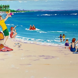 (CreativeWork) 'Celebrating Noosa Beach' by Anne-Marie Jones. arcylic-painting. Shop online at Bluethumb.